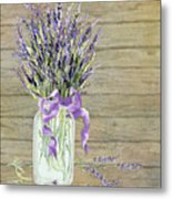 French Lavender Rustic Country Mason Jar Bouquet On Wooden Fence Metal Print