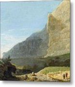 French Master 1st Half Of Th 19th Century   Rocky Cliff Off Shore Metal Print