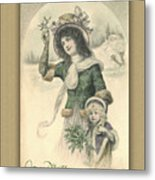 French Mother And Child Christmas Card Metal Print