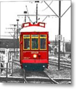 French Quarter French Market Cable Car New Orleans Color Splash Black And White With Film Grain Metal Print