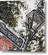 French Quarter French Market Street Sign New Orleans Colored Pencil Digital Art Metal Print