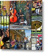 French Quarter Musicians Collage Metal Print