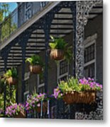 French Quarter Sunlit Balcony - New Orleans Metal Print