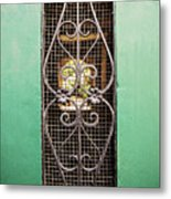 French Quarter Window To The Courtyard Metal Print