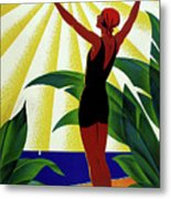 French Riviera, Girl On The Beach, France Metal Print