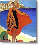French Riviera, Woman On The Beach, Paris, Lyon, Mediterranean Railway Metal Print