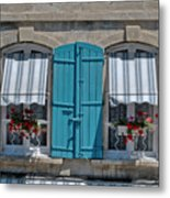Shuttered Windows And Flowers Metal Print