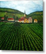French Village In The Vineyards Metal Print