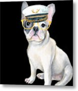 Frenchie French Bulldog Yellow Glasses Captains Hat Dogs In Clothes Metal Print