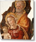 Fresco Holy Family Metal Print
