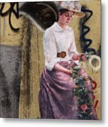 Frescoe Painting Of A Woman In Traditional Dress With Flowers Am Metal Print
