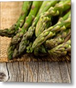 Fresh Asparagus On Napkin And Rustic Wood  Metal Print