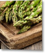 Fresh Asparagus On Rustic Wooden Server Board Metal Print