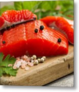 Fresh Copper River Salmon Fillets On Rustic Wooden Server With S Metal Print