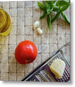 Fresh Italian Cooking Ingredients On Tile Metal Print