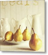 Fresh Pears On Old Wooden Table With Vintage Feeling Metal Print by Sandra Cunningham