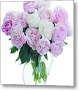 Vase Of Peonies Metal Print