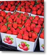Fresh Picked Strawberries Metal Print