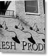 Fresh Produce Signage Black And White Metal Print
