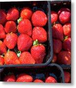 Fresh Ripe Strawberries In Plastic Boxes Metal Print