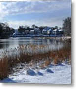 Fresh Snow Along The Creek Metal Print