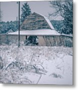 Fresh Snow Sits On The Ground Around An Old Barn Metal Print