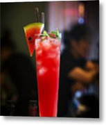 Fresh Watermelon Juice And Vodka Cocktail Drink Metal Print