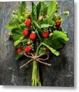 fresh Wild strawberries on wooden background  Metal Print