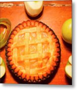 Freshly Baked Pie Surrounded By Apples On Table Metal Print