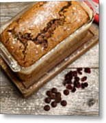Freshly Baked Zucchini Bread On Rustic Wooden Boards Metal Print