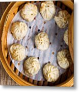 Freshly Cooked Dumplings Inside Of Bamboo Steamer Ready To Eat  Metal Print