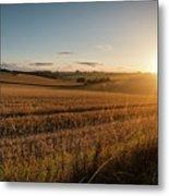 Freshly Harvested Fields Of Barley In Countryside Landscape Bath Metal Print