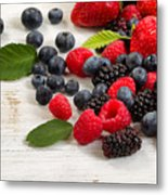Freshly Picked Berries On Rustic White Wooden Boards Metal Print