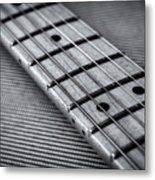 Fret Board In Black And White Metal Print