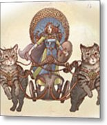 Freya And Her Cat Chariot-garbed Version Metal Print