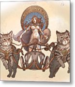 Freya And Her Cat Chariot-nude Version Metal Print
