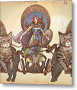 Freya Driving Her Cat Chariot - Triptic Garbed Version Metal Print