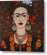 Frida Kahlo With Butterflies Metal Print