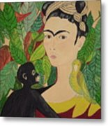 Frida With Monkey And Bird Metal Print