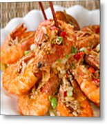 Fried Bread Coated Shrimp And Garnishes On White Serving Plate R Metal Print