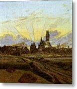 Friedrich Caspar David Neubrandenburg In Flames Metal Print
