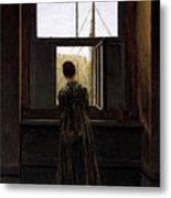 Friedrich Caspar David Woman At A Window Metal Print