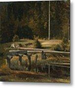 Friedrich Voltz 1817 Nordlingen   Munich 1886 Forest Clearing At A Pond Metal Print