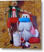 Friends 2  -  Pinocchio And Stimpy   Metal Print