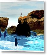 Friends With Dolphins In Colour Metal Print