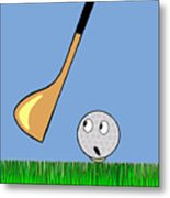Frightened Golf Ball Metal Print