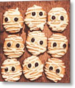Frightened Mummy Baked Biscuits Metal Print