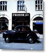 Frisor And Black Car  Copenhagen Denmark Metal Print