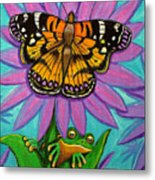 Frog And Butterfly Metal Print