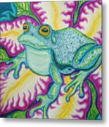 Frog And Flower Metal Print